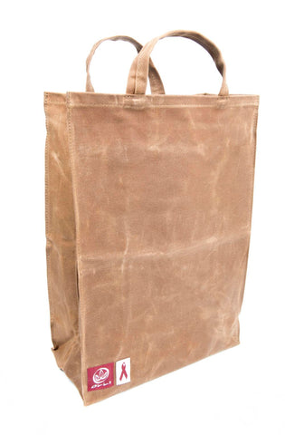 Olli Reusable 100% Organic Waxed Cotton Tote/Grocery/Gift Bag Brown