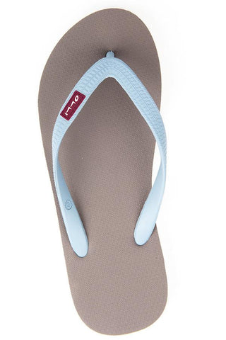 Olli Fair Trade Natural Rubber Flip-Flops iron-grey-w-caribbean-bay-blue