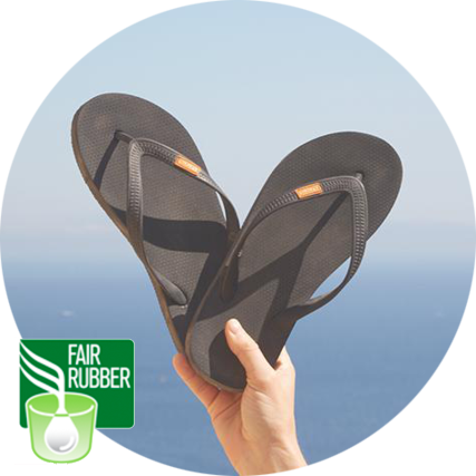 Olli flip-flops are safe for the people that make them Olli is a member of the Fair Rubber Association. By partnering with the Fair Rubber Association in Sri Lanka, every pair of flip-flops sold will provide education, safe working conditions, & life change.