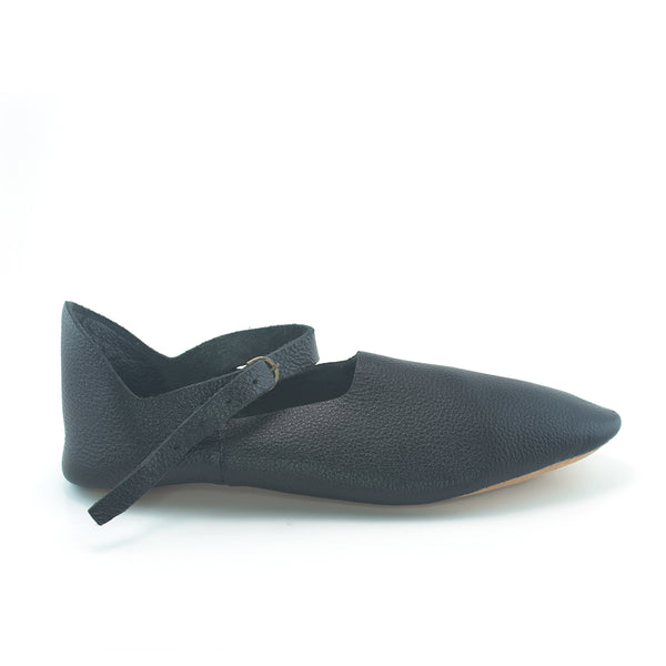14th Century Medieval Turn Shoes Women and Men - Black middle ages shoe for women, Medieval shoes for men, crackowes, poulaines, medieval turn shoe
