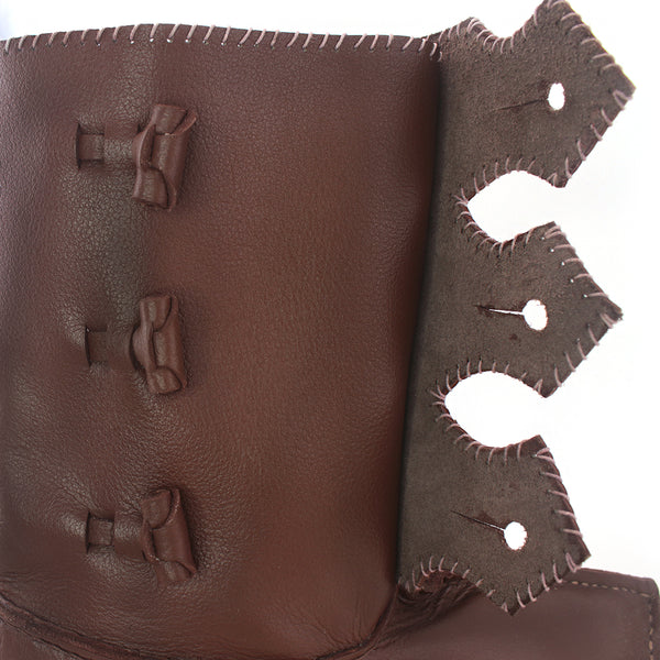 Baltic III Viking Age Boots toggle flap open, leather Rus Viking Boot with toggles