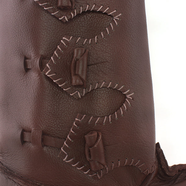 Baltic III Viking Age Boots side close up of toggles, leather Rus Viking Boot with toggles