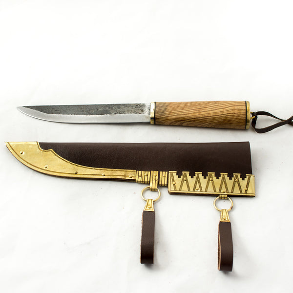Birka Viking Seax Knife #29 - from Grave 968 is hand forged tool steel Viking age reproduction knife with a maple wood with brass handle and brass decorated brown scabbard