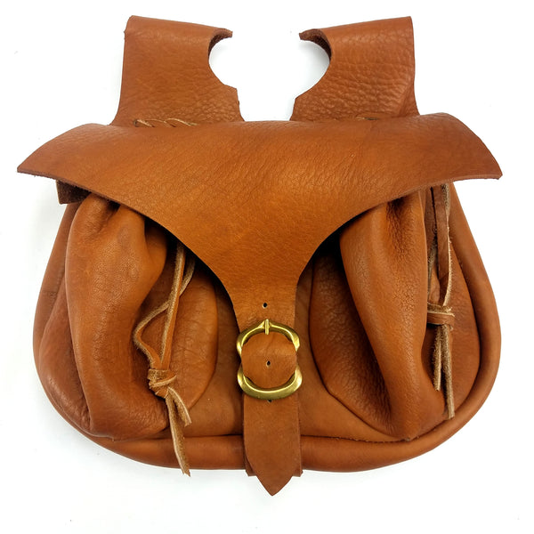 Campaign Leather Renaissance Belt Pouch - front view Brown good for Dagger's or bollock knife and large to hold any smartphone