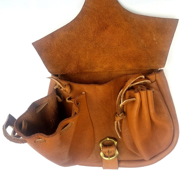 Campaign Leather Renaissance Belt Pouch - open view good for Dagger's or bollock knife and large to hold any smartphone