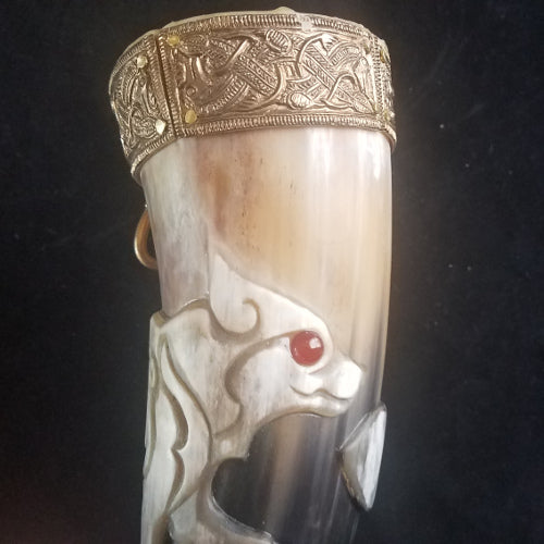 Horn, Norse Fenrir Themed Medium Drinking Horn, Horn 04-18