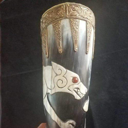 Horn, Norse Fenrir Themed Large Drinking Horn, Horn 03-18