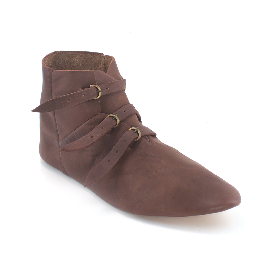Men/'s Medieval Leather Shoe Middle Ages Ankle Boots with Buckles