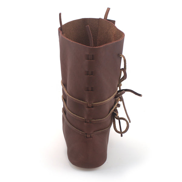 The Medieval High Turn Shoes - a historically accurate leather mid calf laced boot to Look sharp at your next medieval 11th, 12th, 13th, and 14th Century reenactment event rear view