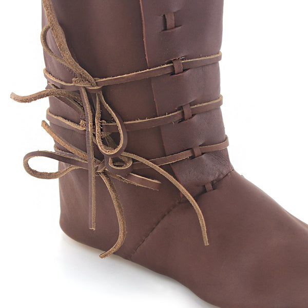 The Medieval High Turn Shoes - a historically accurate leather mid calf laced boot to Look sharp at your next medieval 11th, 12th, 13th, and 14th Century reenactment event laces close up view