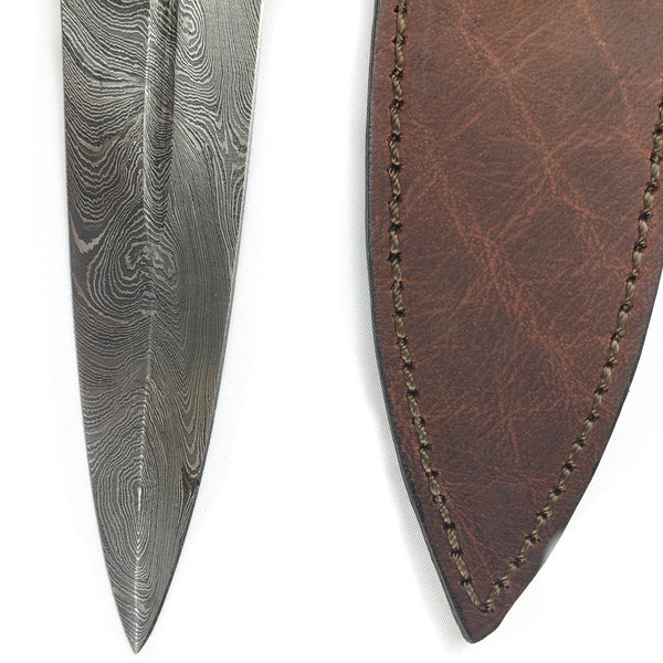 Medieval Short Sword Large Dagger Damascus Steel #60A featuring a spiral carved bone handle and double-edged Damascus steel blade with farrow, guard and pommel