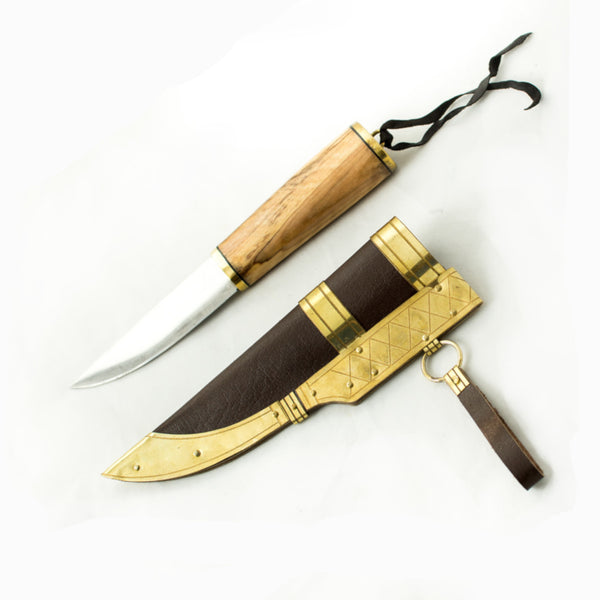 Hand forged Norse Seax Viking Knife #27 - ash wood with brass bezzel handle stainless blade with a rockwell Hardness of 45 with brown vegetable tanned sheath or scabbard with Viking historical art embossed on brass