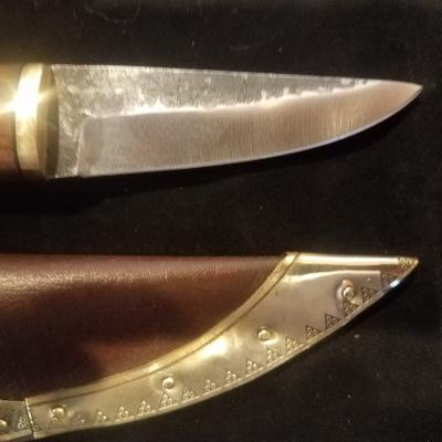 Boots by Bohemond Viking Seax Stainless with brass decorated scabbard $40