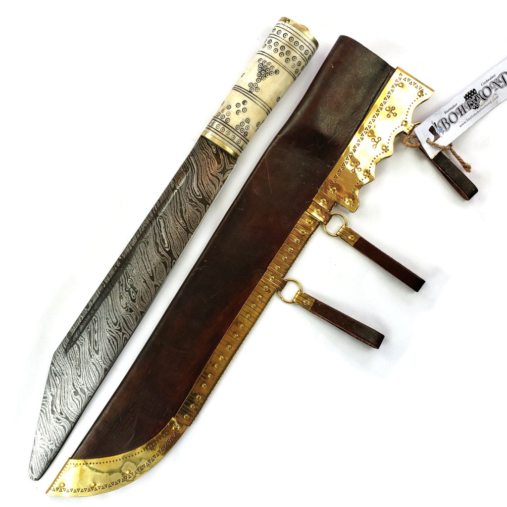 Large Viking Broke Back Damascus Seax Bone Handle #48 is large and so Seaxy.  The spine and blade are not parallel as found in many gravesites of the era.  This Viking knife makes a great period survival tool .
