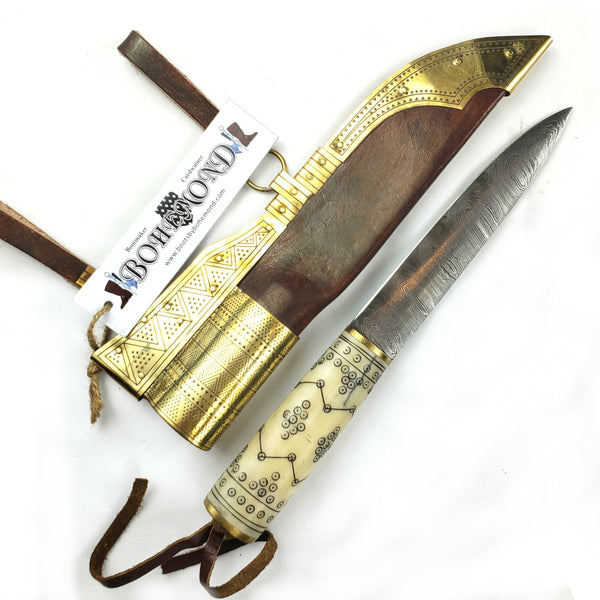 Old Norse Decorated Viking Damascus Knife with Rus Sheath #50B decorative motifs engraved into the bone handle with accented brass sheath in the Rus or eastern Viking style for SCA, LARP, and history buffs.