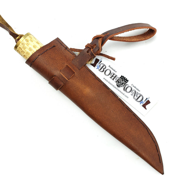 Viking tool steel Seax Knife Birka Style #55 with maple wood handle decorated with period birds eye pattern and veg-tanned Birka scabbard tool steel blade holds an edge and is rust-resistant making for a good Viking survival camp tool.
