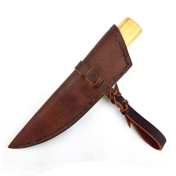 Seax Viking tool steel Knife from Birka #7 - maple, tool steel, historical vegetable tanned leather Scabbard found at Birka, Sweden, Norse Viking age knife scabbard