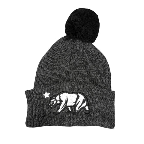 California Bear Grey/Black Pom Beanie