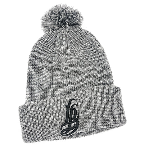 Cursive LB Athletic Grey Pom Beanie