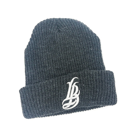Cursive LB Charcoal Long Beanie