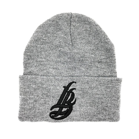 Cursive LB Black On Grey Long Beanie