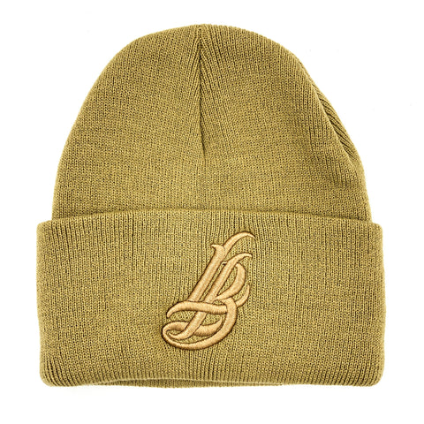 Cursive LB All Khaki Long Beanie
