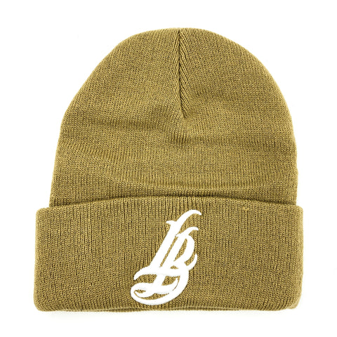 Cursive LB White On Khaki Long Beanie