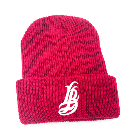 Cursive LB Red Long Beanie