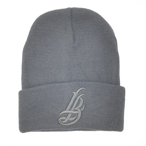 Cursive LB All Grey Long Beanie