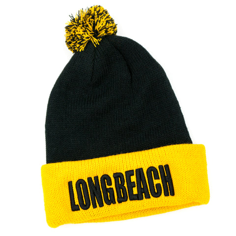 Long Beach Black/Gold Block Letter Pom Beanie