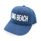 Long Beach Block Letter White On Navy Baseball Snapback