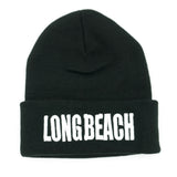 Long Beach Black Block Letter Long Beanie