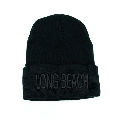 Long Beach All Black Block Letter Beanie