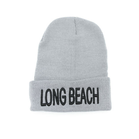 Long Beach Black On Grey Block Letter Long Beanie