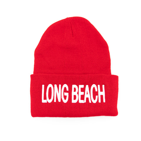 Long Beach Red Block Letter Long Beanie