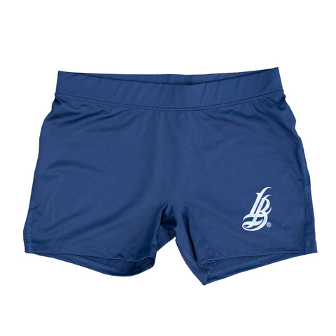 Cursive LB Women's Navy Workout Shorts