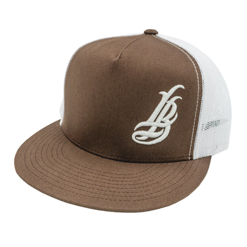 Cursive LB Brown/White Trucker Snapback
