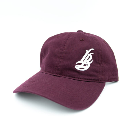 Cursive LB White On Plum Unstructured Dad Hat