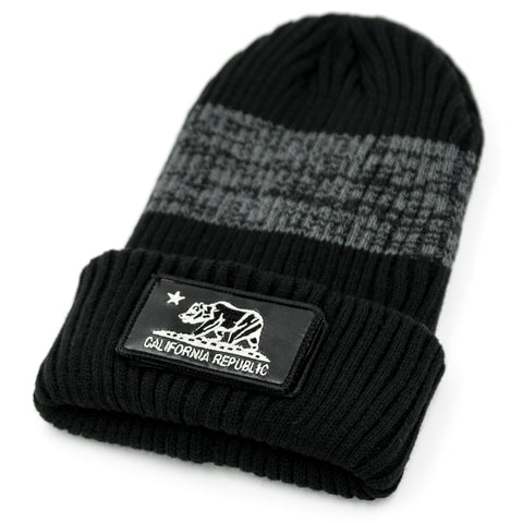 California Black Long Beanie with Removable Patch