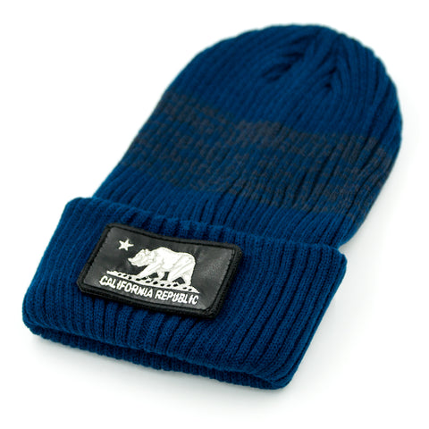 California Navy Long Beanie with Removable Patch