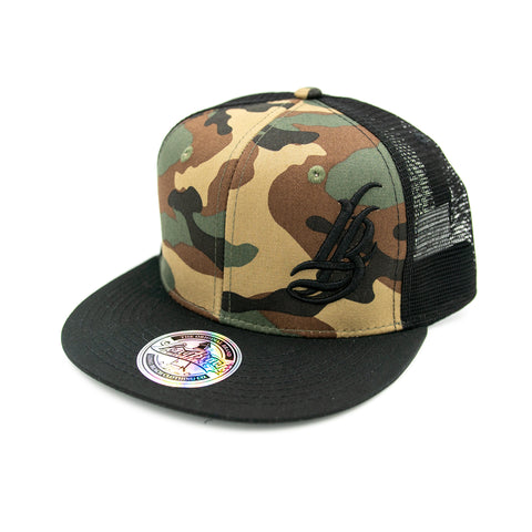 Cursive LB Camo/Black Trucker Hat