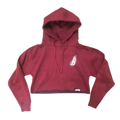 Cursive LB Women's Burgundy Crop Hoodies