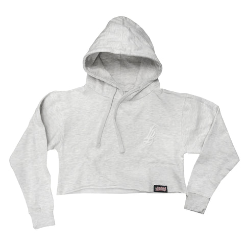 Cursive LB Women's Light Grey Crop Hoodies
