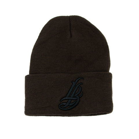 Cursive LB Black on Brown Long Beanie