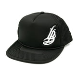 Cursive LB White On Black Trucker Hat