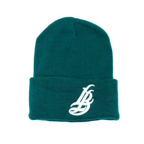 Cursive LB Dark Green Long Beanie