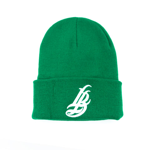 Cursive LB Green Long Beanie