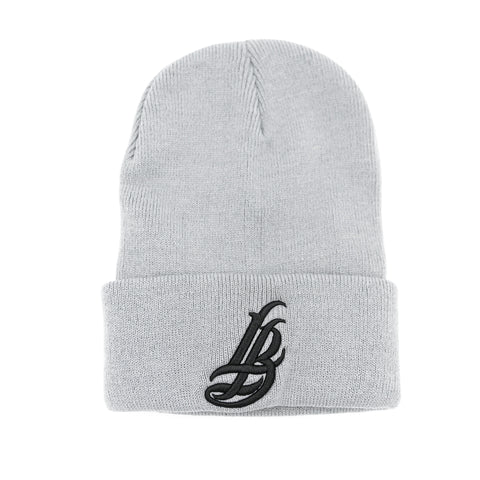 Cursive LB Black On Charcoal Long Beanie