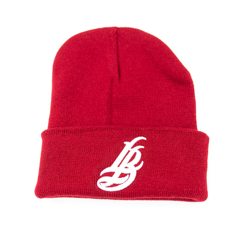 Cursive LB Dark Red Long Beanie