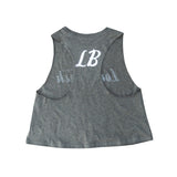Cursive Long Beach Women's Heather Olive Crop Racerback Tank